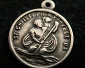 St. Christopher Medal Small Charm Silver Plated 12 Items