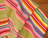 Vintage Hand-Woven Wool Throw or Blanket in Brilliant Colors