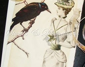 The Raven and the Black Feathered Hat - True Love - Victorian Collage Card