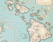 Hawaii - Vintage Maps - 1930s State Picture Maps - Hawaii - A Fun and Funky Little Vintage Map to Frame