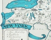 Vintage Maps - State Maps - New York - A Fun and Funky Little 1930s Vintage Picture Map to Frame - Original