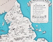 Map of England - Vintage Map of England and Wales - A Fun and Funky 1930s Vintage Picture Map to Frame
