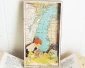 Beach Decor - Michigan Map - Vintage Collage Shadowbox  - Lake Michigan Beaches - Cottage Chic - Lake Michigan - Yay for Summer