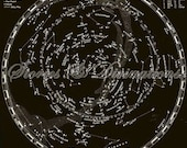 Astronomy - Vintage Star Chart  in Black and White - Vintage Map of the Universe - Astronomical Chart - 1939 - The Vintage Universe