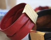 Soft Red Leather Bracelet, Red Leather Cuff, Gold Embellishment, Leather Jewelry, Modern Statement Jewelry, Modern Bracelet
