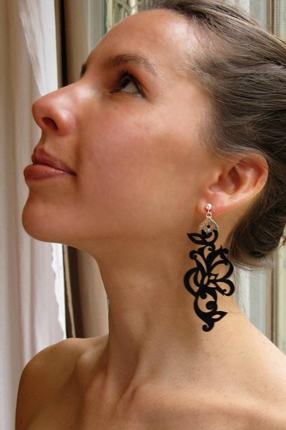 Tatoo Leather and Silver Earrings