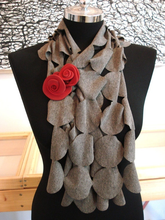 Short Gray Scarf and Red Brooch