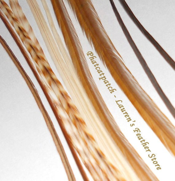 Hair Feathers Extensions - Blonde Mix - 6 Long Feathers 7-10 inches phatcatpatch