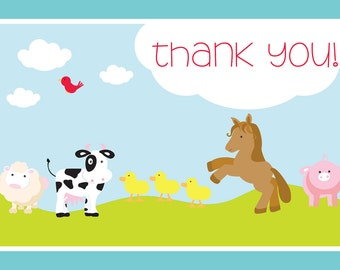 Custom Printable Barnyard Farm Birthday Party Thank You Card