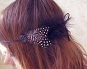 Poofy Polka Dot Feather Headband