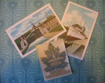 1950's Canada Tourism Lot - Quebec Booklet, Montreal Decal, Postcards