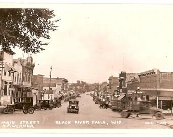 c.1920 Photo Postcard, Main Street, Black River Falls, WI