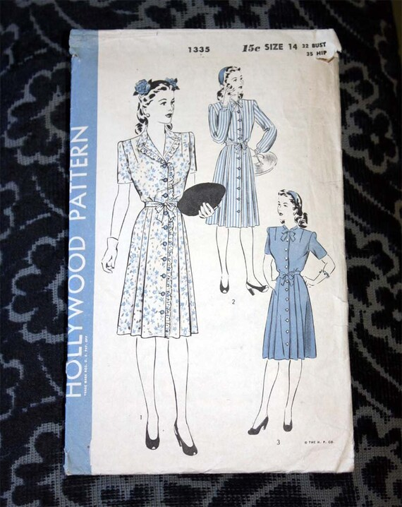 Hollywood Sewing Pattern 1335 - Classic 1940s Dress Size 14