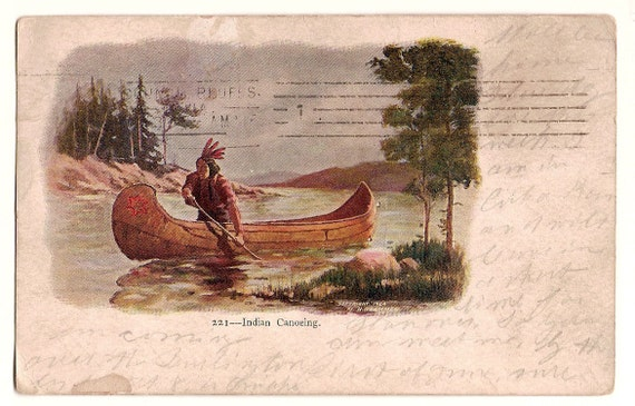 """1906 Postcard """"Indian Canoeing"""" H.H. Tammen"""