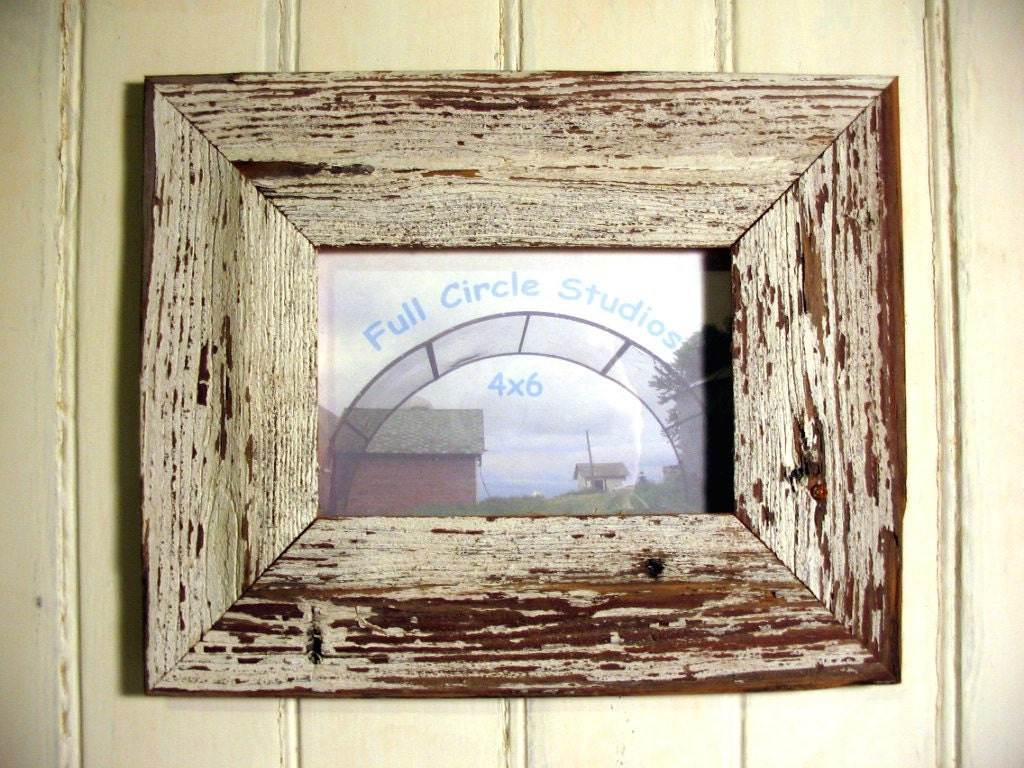 White Wood Frame : Rustic Weathered Wood Frame White Paint 4x6 by fcstudiovintage