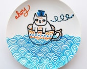 SALE - Ahoy hand painted plate