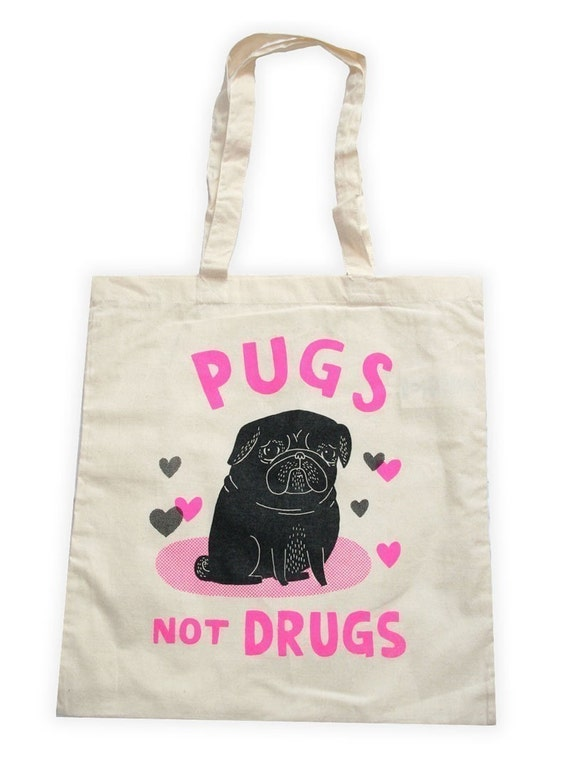 black and pink pugs not drugs tote bag by gemmacorrell on etsy