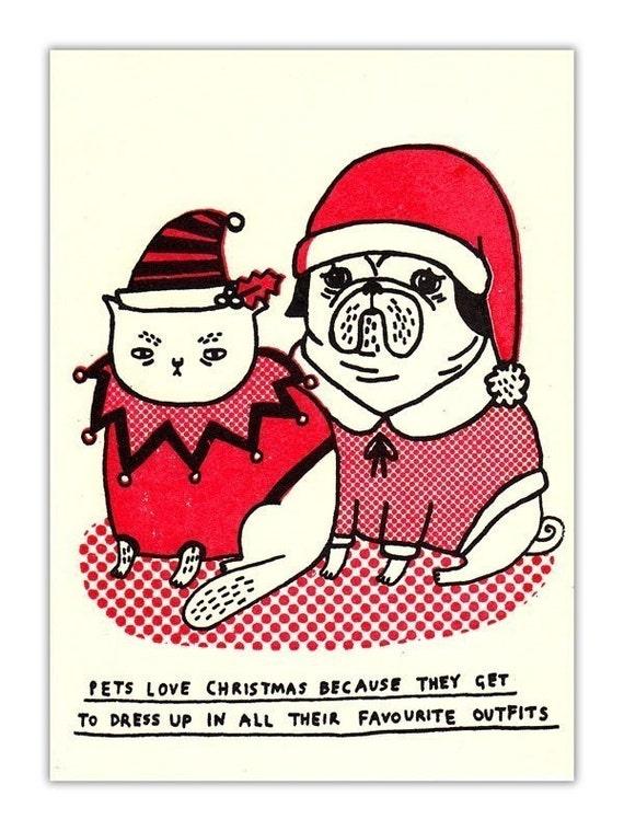 Pets Love Christmas card