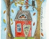 A Tiny Life No.1 - 5x7 LIL ART CARD, giclee print of watercolour, house, Susan Black