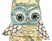 Joshua - 5x7 collage owl - LIL ART CARD matted giclee print, owl, collage, Susan Black