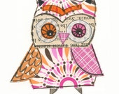 Brittany - 5x7 collage owl - LIL ART CARD matted giclee print, owl, collage, Susan Black