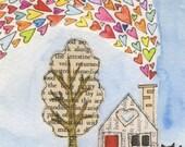 A Tiny Life No.3 - 5x7 - LIL ART CARD matted giclee print, collage, Susan BlackLil Art Card