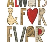 Always & Forever - 8x10 GICLEE PRINT, typographic collage, Susan Black