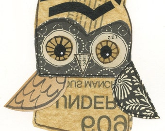 Frank - 5x7 collage owl - LIL ART CARD matted giclee print, owl, collage, Susan Black