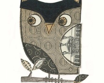 Augusten - 5x7 collage owl - LIL ART CARD matted giclee print, owl, collage, Susan Black