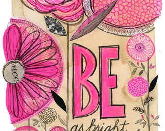 be as bright  - 11X14 GICLEE PRINT, botanical collage, Susan Black