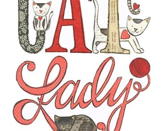 Cat Lady - 5x7 giclee print, cats, collage, Susan Black