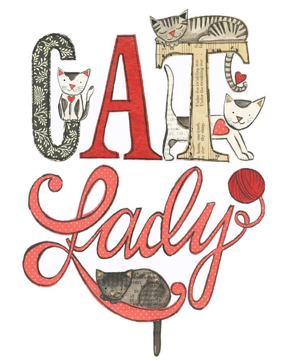 Cat Lady - 8X10 GICLEE PRINT, typographic collage, cats, Susan Black