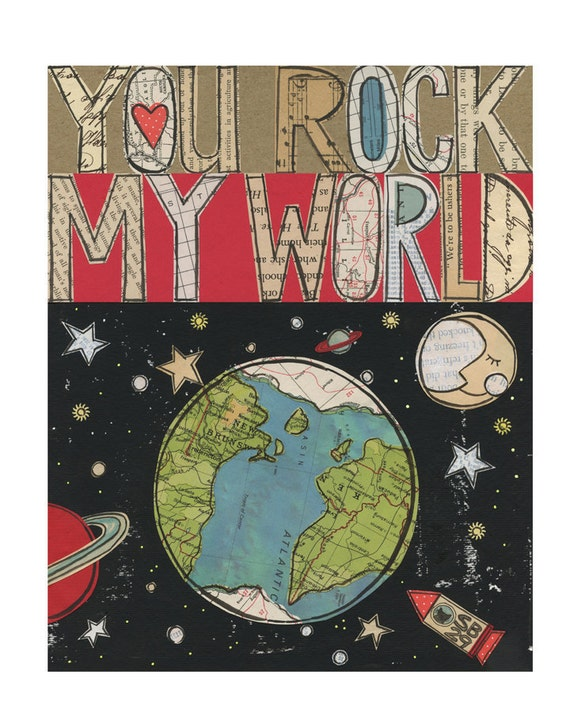 You rock  ... 8x10 giclee print, typographic collage, Susan Black