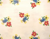 Adorable Vintage 1950's Little Man w/Flower Print Fabric 2 7/8 Yards