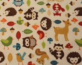Northcott Forest Friends Flannel Multi Color Animal Print- 1 yd -LAST PIECE-
