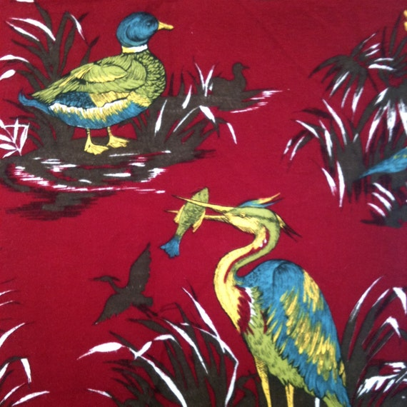Even More Vintage 1950's Red Bird Print Fabric 1 3/4 Yards