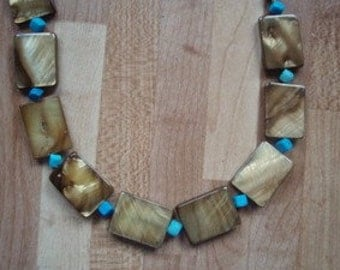 Turquoise and Golden lip shell Necklace
