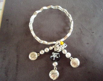 Silver Bangle Bracelets with sports charms