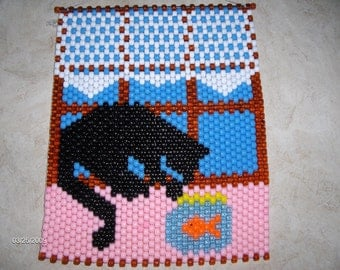 CAT With a FISHBOWL Beaded BANNER