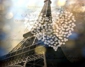 Mixed Media Altered Photo Collage Eiffel Tower Bokeh Heart Love Vintage Post Card Print Coupon Code