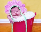Custom crochet baby girl flower bonnet hat photo prop