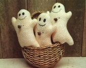 Spooky Ghost Handmade  Halloween  Primitive Ornies  Set of 3