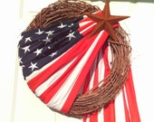 Primitive Patriotic Flag Wreath- Americana Flag Wreath