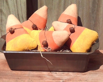 Primitive Halloween Candy Corn Ornies ( Set of 5 )