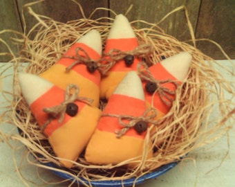 Primitive Candy Corn  Autumn Halloween Fabric Ornies  ( Set of 5 )