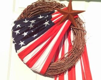 Primitive Patriotic Flag Wreath- Americana Flag Wreath