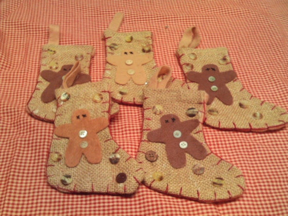 Christmas Stockings  Burlap  Primitive Set of 5