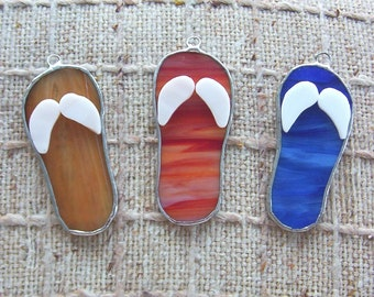 Flip flop favors stained glass wedding or party favors, package tie-ons, ornaments or suncatchers