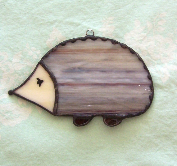 Brown hedgehog stained glass suncatcher glass hedge hog