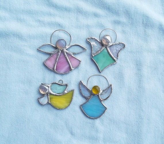 Angel ornament set stained glass angel favors pastel ornaments